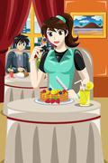 Woman eating fruit pancakes Piirros