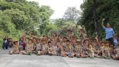 Stock Video Footage of Hiking events, Scout Camp in primary school Bangkok Thailand