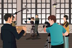 Stock Illustration of Movie production scene
