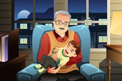 Grandfather holding his grandson - stock illustration