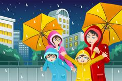 Family walking with umbrella and wearing raincoats - stock illustration