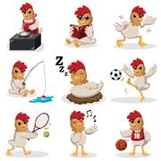 Chicken characters doing different  activities - stock illustration