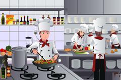 Stock Illustration of Scene inside restaurant kitchen