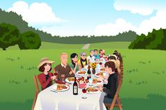 People eating in a farm table - stock illustration