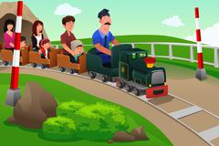 Kids and their parents riding a small train Stock Illustration