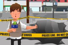 News reporter working in the city Stock Illustration