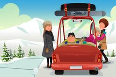 Family going to a winter holiday trip - stock illustration