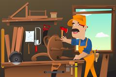Carpenter working making a chair - stock illustration