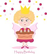 Stock Illustration of Cute pink fairy with delicious cake