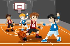 Kids playing basketball - stock illustration