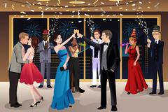 New Year Eve party indoor - stock illustration