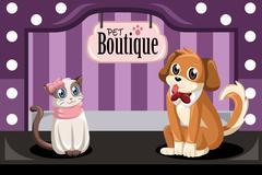 Pet boutique - stock illustration