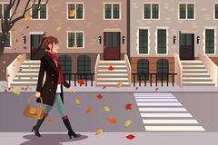 Stylish girl walking in New York city Stock Illustration