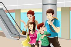 Family going to shopping - stock illustration