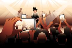 People in concert scene - stock illustration