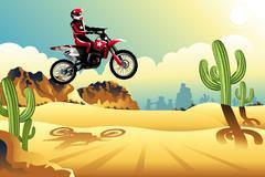 Motor cross rider in the desert - stock illustration