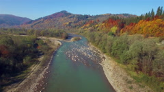 Aerial view of mountain river. Autumn Carpathians. - stock footage