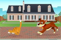 Dog chasing cat - stock illustration