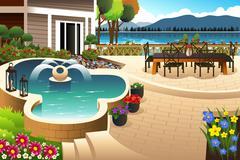 Beautiful backyard garden - stock illustration