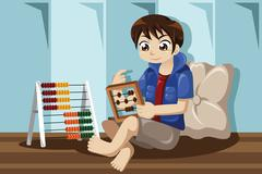Kid playing with abacus - stock illustration