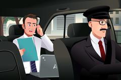 Businessman talking on the phone in a car - stock illustration