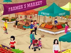 Farmers market scene Piirros