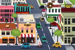 Busy city in the morning - stock illustration