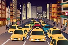 Busy city in the evening - stock illustration