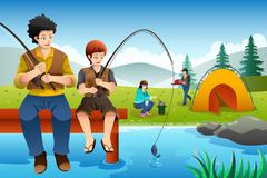 Family going fishing on a camping trip - stock illustration