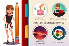 Woman writing about her new year resolution - stock illustration