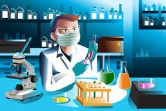 Scientist working in laboratory Piirros