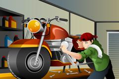 Man fixing a motorcycle - stock illustration