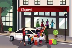 Family loading shopping stuff into the car - stock illustration