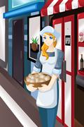 Female store owner standing in front of her store Stock Illustration