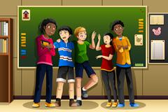 Stock Illustration of Multi-ethnic students in the classroom