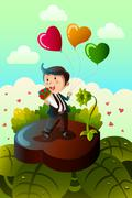 Man carrying heart shaped balloons and red roses - stock illustration