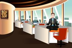 Businessman meditating in the office Stock Illustration