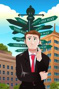 Confused businessman under a street sign with different directions Stock Illustration