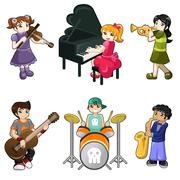 Different kids playing musical instrument - stock illustration