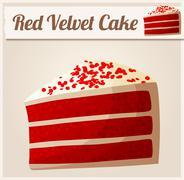Stock Illustration of Red Velvet Cake. Detailed Vector Icon