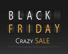 Black friday sale, analog flip clock design Stock Illustration