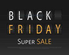 Black friday sale, analog flip clock design - stock illustration