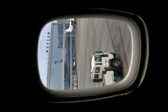kind from a porthole on the air-port of Moscou - stock photo