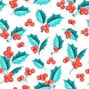 Mistletoe seamless pattern - stock illustration