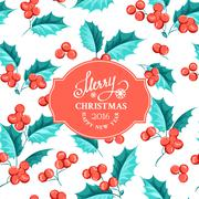 Mistletoe holiday card - stock illustration