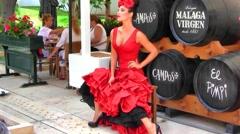 Spanish Flamenco Model, Malaga, Spain - stock footage