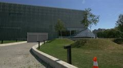 Modern architecture at Polin Museum of the History of Polish Jews, Warsaw - stock footage