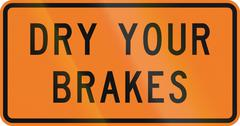 New Zealand road sign - Dry your brakes Stock Illustration