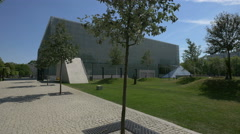 View of Polin Museum of the History of Polish Jews in Warsaw - stock footage