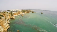 Aerial footage Lagos, Ponta da Piedade, Algarve, Portugal Stock Footage